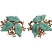 Trifari blue molded plastic leaf clip earrings rhinestone accents