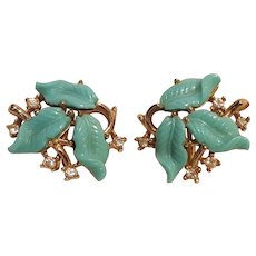 Trifari blue molded plastic leaf clip earrings rhinestone accents