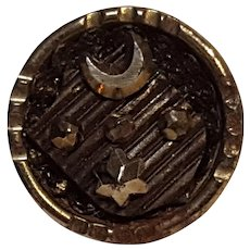 Set of seventeen antique cut steel buttons crescent and star on shield
