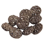 Antique buttons silver luster on molded black glass 11