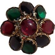 Trifari Renaissance pin  pendant jewel tone stained glass