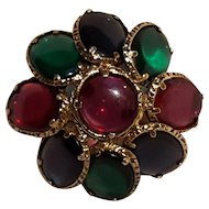 Trifari Renaissance pin  pendant jewel tone stained glass