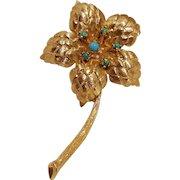 Karbra 14K gold star flower pin turquoise stone stamen
