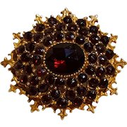 Signed Art pin simulate garnet stones Victorian revival