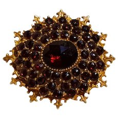 Signed Art pin simulate garnet stones Victorian revival