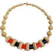 Art Deco necklace celluloid and laminated plastic choker length