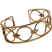 Krementz USA cuff bracelet Modern design yellow rose gold finish