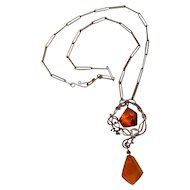 916 Silver Baltic amber necklace Poland hand crafted