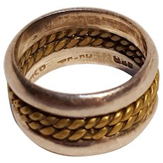 Taxco sterling silver brass ring band mixed metal