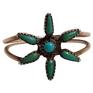 Zuni sterling silver petit point turquoise ring fine star flower