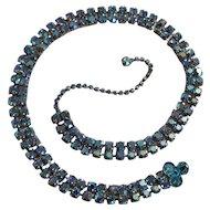 Iridescent blue rhinestone belt two row adjustable