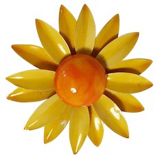 Original by Robert flower pin yellow and orange enamel
