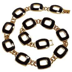 Napier black enamel necklace circa late 1980's classic design