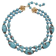 Trifari opaque Robins egg blue glass bead necklace two strand