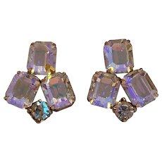 Weiss aurora borealis clip earrings pale pink