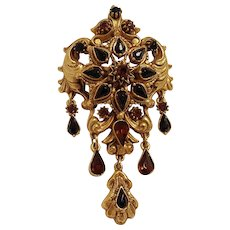 Florenza Victorian Revival pin with rhinestone drops
