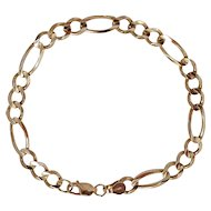 10K Yellow gold figaro chain link bracelet 5 grams