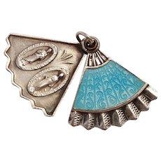 Sterling silver blue guilloche enamel fan slider charm Miraculous Mary