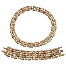 Trifari simulated pearl bracelet necklace set wide heavily embossed