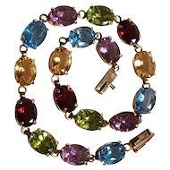 10K Gold multi gemstone bracelet peridot blue topaz amethyst citrine garnet