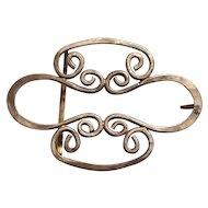 Vintage hand crafted sterling silver belt buckle