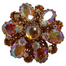 Rhinestone and glass cabochon pin pendant iridescent pink honey amber topaz brown