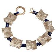Lucite ice bead bracelet blue plastic coil spacers