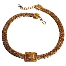 Monet choker necklace flat embossed link chain