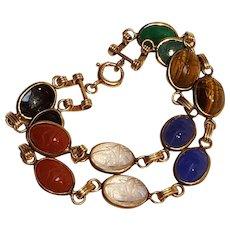 Two row scarab bracelet multi gemstone gold filled