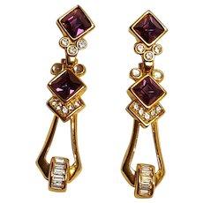 Piscatelli clip drop earrings purple Swarovski crystals