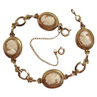 12K Gold Filled carved shell Cameo bracelet