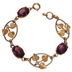 Van Dell 12K gold filled purple glass stone bracelet