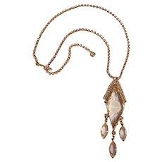 Rhinestone bezel set crystal drops necklace