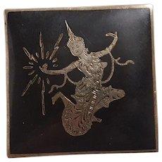 Siam sterling silver pin square shape Goddess Mekhala