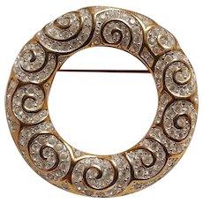 Swarovski circle pin swirl design colorless crystals
