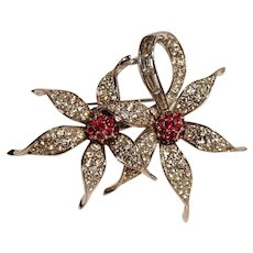 Boucher double flower rhinestone pin red colorless baguette chaton