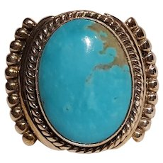 Begay sterling silver turquoise ring Navajo size 12 1/2