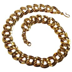 Monet double flat link chain necklace chunky