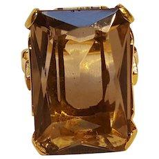 Clark Coombs 10K gold filled smoky quartz ring