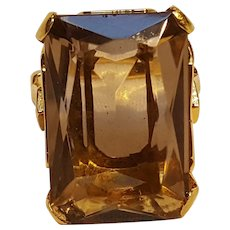Clark Coombs 10K gold filled smoky quartz ring