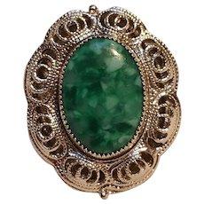 Judy Lee ring green mottled glass stone filigree frame
