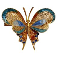 800 Silver enamel butterfly pin gilt filigree work Italy
