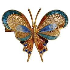 800 Silver enamel butterfly pin gilt filigree work Italy