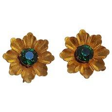 Gilt Sterling silver flower clip earrings green rhinestone