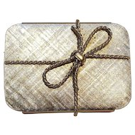 Napier pill box gift with bow motif silver tone