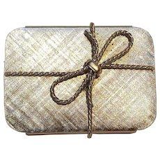 Napier pill box gift with bow motif silver tone
