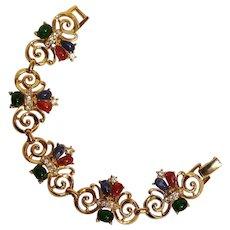 Trifari TM bracelet lucite cabochons rhinestone swirl plaques
