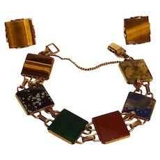 WRE Richards gold filled bracelet and earrings set multi gemstone