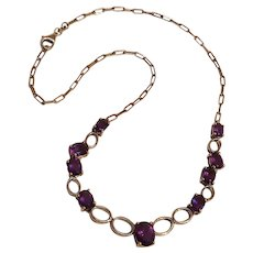 Sterling silver and amethyst stone choker length necklace