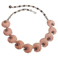 Lisner necklace pink plastic swirls chaton rhinestone choker necklace